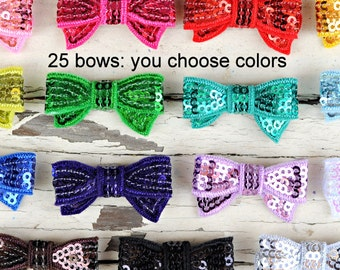 Mini Sequin Bows - Wholesale Sequin Bows - Set of 25 - You Pick Your Colors - 1.5 Inch Sequin Bows For Headbands and Clips