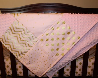 Glitz Confection Light Pink Chevron, Confection Light Pink Gold Dot, and Blush Minky Patchwork Baby Blanket