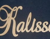 """SPECIAL PRICING - Connected Wooden Name - Unpainted - 15"""" Size - Medium Elegant- Wood Letters - Personalized Nursery Family Wall Decor"""