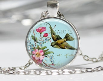 Vintage Bird with Flowers Pendant Glass Pendant Necklace