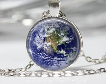 The Earth Necklace Earth Jewelry Planet Necklace Glass Pendant Necklace