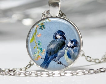 Blue Birds on a Branch Jewelry Bird Necklace
