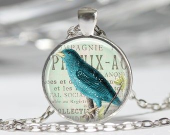 Blue Bird Jewelry Bird Necklace Wearable Art Blue Bird Necklace