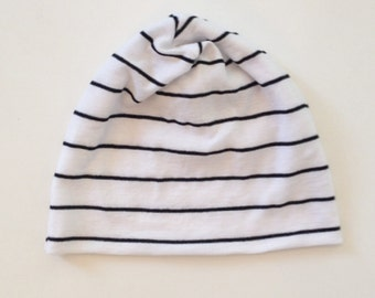 White & Black Striped Slouch Beanie, Baby, Toddler, Child, Teen, Hipster