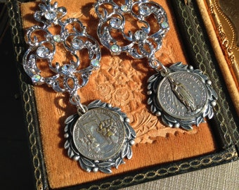 Antique  Rhinestone assemblage earrings, medals