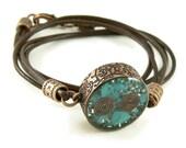 Orgone Energy Mens Necklace - Unisex Necklace - Double Sided Pendant - Turquoise Gemstone - Copper - Leather - Artisan Jewelry