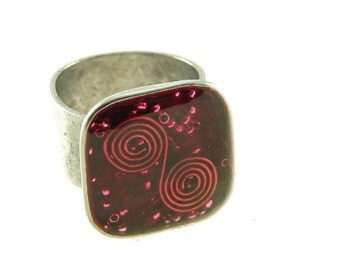 Orgone Energy Ring with Red Garnet - Medium Square Cocktail Ring - Adjustable Ring - Orgone Energy Jewelry - Artisan Jewelry