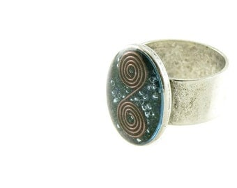 Orgone Energy Ring with Lapis Lazuli - Simple Oval Cocktail Ring - Adjustable Ring - Orgone Energy Jewelry - Artisan Jewelry