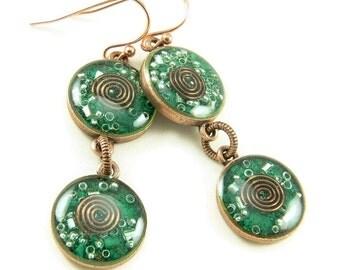 Orgone Energy Earrings - Malachite and Copper Gemstone Dangle Earrings - Orgone Energy Jewelry - Positive Energy Generator - Artisan Jewelry