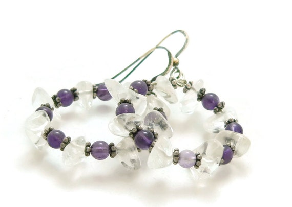 Crown Chakra Crystals - Amethyst and Quartz Crystal Hoop Earrings - Sterling Silver - Dangle Earrings - Artisan Jewelry