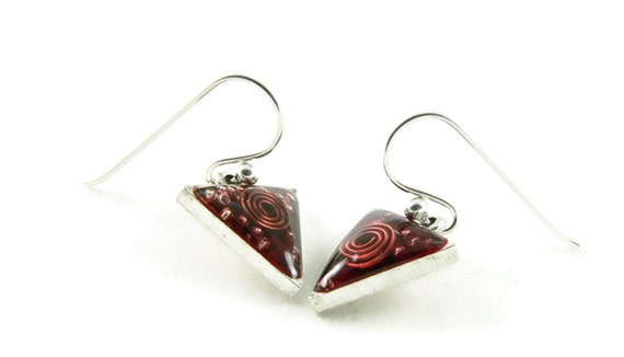 Orgone Energy Dangle Earrings - Small Triangle Drops in Antique Silver with Red Garnet - Orgone Energy Jewelry - Artisan Jewelry