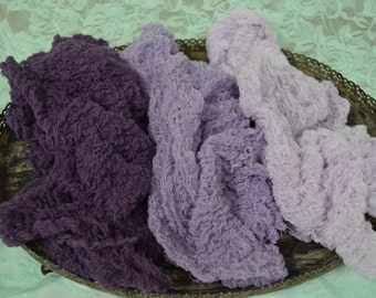 Set of Three Cheesecloth Photography Props...Newborn Props...Cheesecloth Wraps...Swaddling Wraps...Photo Props...Purple Wrap Set