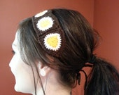 Yellow, White and Dark Brown Granny Square Headband with Ties