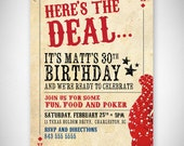 Here's the Deal Poker Card Birthday Invitation - DIY - Digital File - Print Your Own - JPEG - PDF