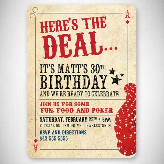Here's The Deal Poker Card Birthday Invitation DIY