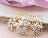Wedding Pearl Hair Comb Gold Bridal Hair Accessories Ivory Real Pearls Vintage Floral Brooch Style Rhinestones  etsy uk