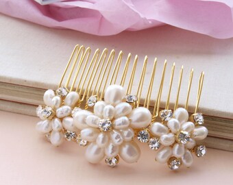 Wedding Pearl Hair Comb Gold Bridal Hair Accessories Ivory Real Pearls Vintage Floral Brooch Style Rhinestones  etsy uk
