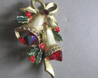 Vintage Christmas Bells Rhinestone Pin Pin Brooch with Red Aurora Borealis Crystals holiday costume jewelry Gifts under 15.00