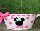 Minnie Mouse/Mickey Mouse Theme----Personalized Oval Metal Tub/ Ice Bucket