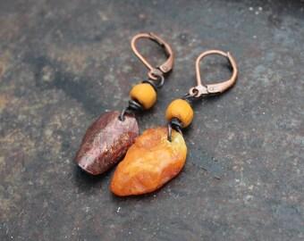 Rustic and asymmetric Baltic amber shaman earrings, Finnish Stone Age geometric rock art, primitive earrings
