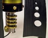 Retro Rocket table lamps.. 241. Steam punk industrial. Mid century modern. 50s Atomic. Green. Peridot.