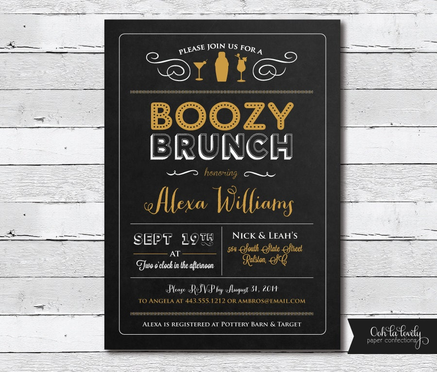 chalkboard bridal brunch invitation birthday party, Birthday invitations