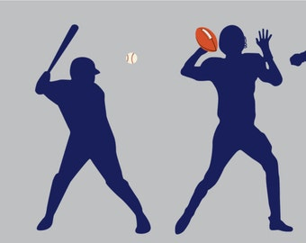Wall decals - vinyl wall decal - soccer player decal - football decal - basketball decal - baseball player decal - Christmas gift