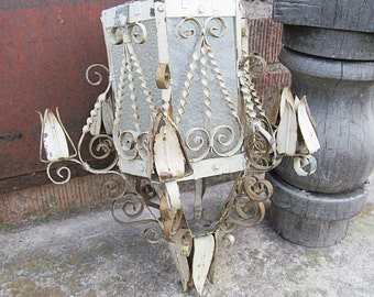 SALE!  Was 32, now 16!  Shabby Chic Scroll and Tulip Light Fixture!