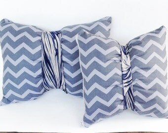 Chevron pillows with a twist, tie pillows: funky throw pillows, bohemian decorative pillows in gray, embellished with a silk tie