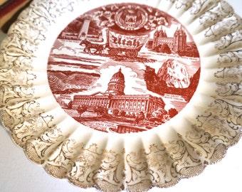 Vintage Souvenir Plate From Utah - Floyd Jones Vintage