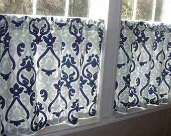 "Premier Prints Navy and Light Blue Double Damask Cafe Curtains 80"" wide x 30"" long"
