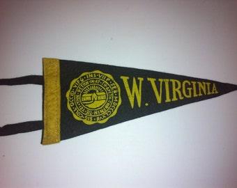 West Virginia University Vintage Felt Pennant with tassels