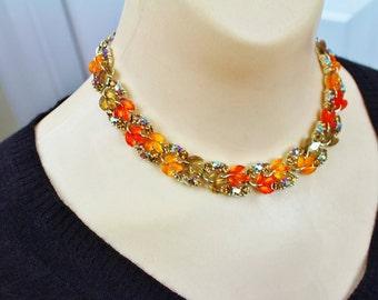 Vintage LISNER Lucite Orange/ Amber Leaf Design necklace