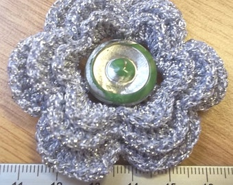 Irish crochet flower brooch in silver with silver green button centre