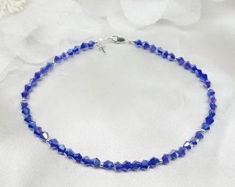 Cobalt Blue Anklet Silver Cross Anklet Blue Crystal Ankle Bracelet Silver Dark Blue Sapphire Anklet  925 Sterling Silver BuyAny3+Get1Free