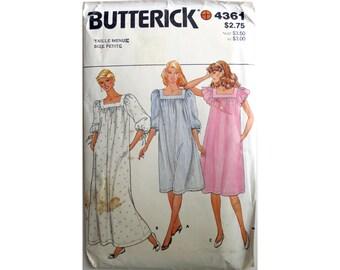 NIghtgown Pajamas Pattern Butterick 4361 Size Petite
