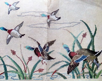 Flying Ducks Needlework, Kaumagraph Transfer for Embroidery, 1930s Mccall Pattern, Old Kaumagraph Transfer, McCall 608, Wildlife Embroidery
