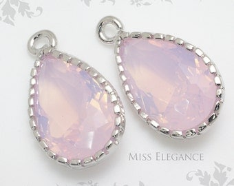 2pcs Pink Opal Teardrop Framed Faceted Glass Stone Pendant Rhodium Plated Brass Unique Jewelry Findings // 8mm x 13mm// GST-0000-BR