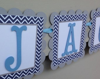 First Birthday Name Banner Navy Chevron Light Blue and Grey Winter Onederland Little Man Inspired