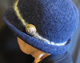 Hat, felted-navy blue