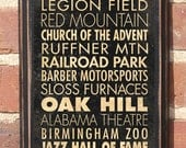 Antique Finish Birmingham, AL Points of Interest and Destinations Subway Transit Scroll Vintage Style Wall Plaque / Sign