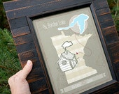 """Cabin Art, Cabin Gift, Gift for Cabins, Family Gift, Cabin Lake Map, Customized Lake Map, Sizes: 5""""x7"""" up to 24""""x36"""""""