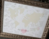 Wedding Centerpiece, Guestbook Sign In, Wedding Guestbook Alternative Map, Wedding Poster, Custom Map Gift, Custom World Map