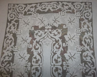 "Antique Fillet Lace Tablecloth......Handmade Lace...GOOD Condition...59"" BY 75"" Grapes..Vinyard"