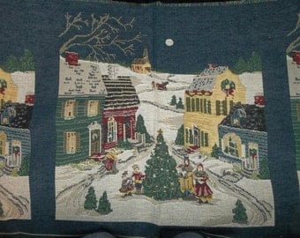 "Cotton Tapestry Panel Father Christmas...Pillow....Tote....18"" Square...GIFTS"
