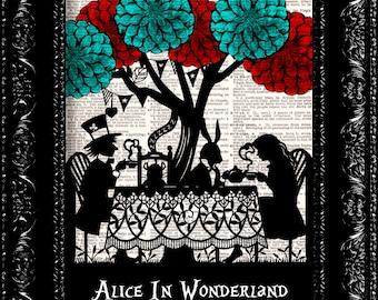 Alice In Wonderland - Wonderland Tea Party - Vintage Dictionary Print Vintage Book Print Page Art Upcycled Vintage Book Art