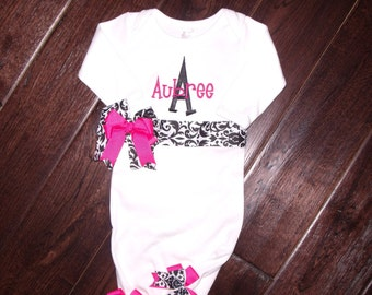 Boutique Black and White Damask Gown Size 0 to 3M or 3-6M