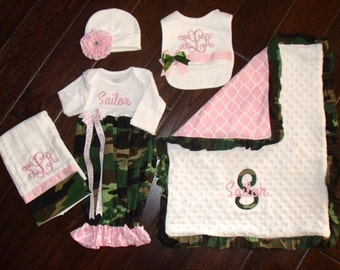 Girl Camouflage Layette Set, Personalized Camo Girl Layette Set, Girls Camo Baby Shower Gift, Embroidered Camo Girl Set