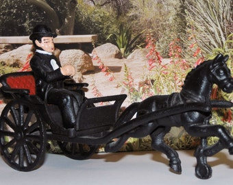 Vintage Cast Iron Horse and Buggy Carriage with Driver - toy - figurine