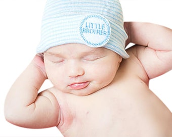 baby boy newborn hospital hat newborn boy blue and white newborn hospital hat with little brother infanteenie beanie boy take home outfit